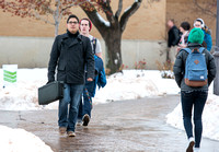 Students come back to school for the start of the winter semester.