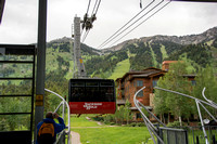 Jackson Hole Ski area. Scouting out Rock Spring Buttress for video shoot. Aerial Tram ride to the top.