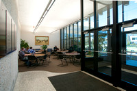 Front entrance & lobby of Smith Building, students studying