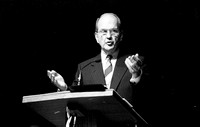 Elder Russel M. Nelson speaks to students at Ricks College during devotional