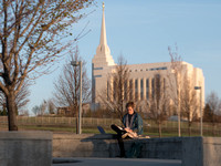 Marisa Bone takes time to study, plan, and prepare with a view of the Rexburg Idaho Temple in the background.