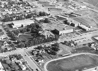 Aerial photo of the Ricks College campus with the Kirkham, Spori, Old B-2 Building, Romney and McKay Library.