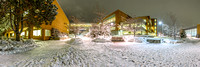 The McKay Library and the Manwaring Student Center after a heavy snowstorm.