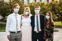 Students stay safe wearing masks and social distancing in their sunday best.