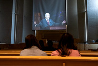 Students gather in the Taylor Chapel to watch General Conference and listen to the prophet President Nelson.