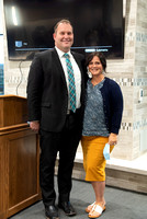 Guest speaker, Riley Burton, and his wife after he spoke at the Housing and Student Living Morningside.