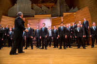 Brigham Young University-Idaho Men's Choir performing for their newest concert.