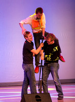 Matlock Wyman is a comedian who entertains the audience with juggling and unicycle skills.