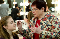 Susan Whitfield works with students in a stage makeup class teaching them techniques to show the aging process.<br/>Suzy Briggs
