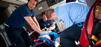 Steve Holley's paramedic class runs mock emergency situations.