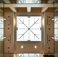 A stunning architectural view of the Hyrum Manwaring Center's ceiling from the first floor looking up.
