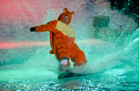 In what has become a highly anticipated BYU-Idaho tradition, Pond Skimming involves students dressing up in crazy costumes and riding down a snow caped hill on skis, a snowboard or an air board. At th