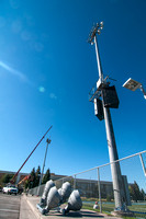 Stadium maintenance: This photo taken August 27, 2012 shows new flood lights being installed.
