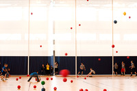 Attempting to break the Guinness World Record, students in large numbers participate in �Super Dodge Ball� in the new BYU-Idaho Center. The center includes 10 basketball courts and therefore has plent
