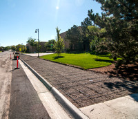 The sidewalk in front of the Eliza R. Snow Building was recently replaced due to weather erosion. Photo taken August 28, 2012.