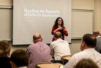 "Employees learn about ""Handling the Eggshells of Difficult Interactions"", taught by Brittany Shipp."