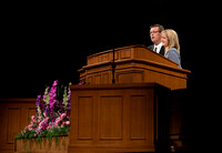 President & Sister Gilbert share the podium while speaking to BYU-Idaho students the first devotional of Spring 2015 Semester.