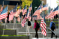 "The ""Remembrance Field"" included over 500 flags, each one representing about 20 different lives of civilians and service men and women who perished in the attacks of September 11, 2001."