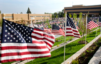 """Remembrance Field"" Over 500 flags, each representing about 20 lives, were posted in the Central Quad at BYU-Idaho, each flag represent the civilians who perished in the attacks on September"
