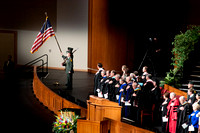 Winter 2012 Commencement, color guard presents and places the US and state flags