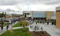 Students walk to class after devotional at the BYU-Idaho Center.