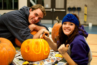 Students putting their carving skills to the test on campus.