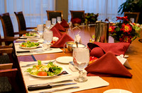 Table set up by Catering Services for a banquet being held in the Presidents dining room on the third floor of the Manwaring Center.