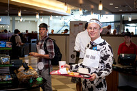 "Faculty and students dress in their best ""cow"" outfit in order to get a free meal at Chick-Fil-A."