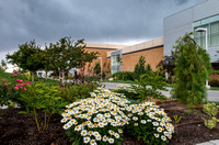 Beautiful bed of flowers outside the Manwaring center with a storm brewing in the background.