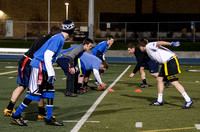 Students play game for advanced men's football