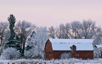 A frosty morning framed in a Red Barn between Rexburg and Sugar City.