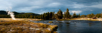 Panoramic of firehole River near Biscuit Basin in Yellowstone National Park.