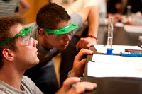 Students work on a lab assignment during Kendall Pecks chemistry 105 class.