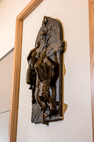 A bronze casting of Lehi's Dream hangs on the top floor of the BYU-Idaho Center. Depictions of the Rod of Iron, the Great and Spacious Building, The fruit desirable above all, and more are included in