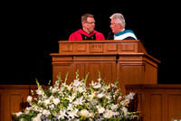 President Uchtdorf presents President Gilbert during his Inauguration.
