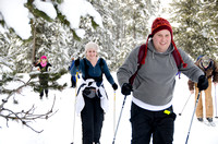 Outdoor activities participants cross country skiing.<br/>Pictured: Colin and Laurise Price