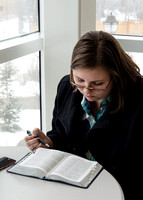 A student studies her scriptures for her Old Testament class at BYU-Idaho.<br/>Pictured: Veronica Talley