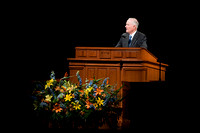 President Kim B. Clark speaking at an Education Week Devotional.