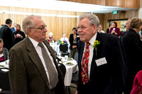 Snow Society honors Wilson Brown for his contribution to the Arts with the Eliza R. Snow Award.  Darwin Wolford greets Wilson Brown.