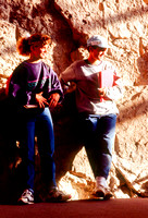 Students studying the fossils.