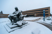 BYU-Idaho campus blanketed with snow.