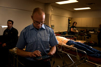 Cory Marriott and his peer pass off EMT requirements during lab held in the Clarke Building.