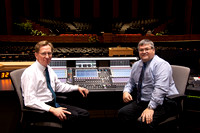 Audio Visual Services, Spencer Allen and Dave Mann at the console in the BYU-Idaho Center.