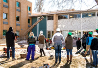 Daniel Dewey's Aboriculture class looks on as BYU-Idaho's Head Arborist, Jacob Anderson takes down an old decaying tree next to the Biddulph Hall.