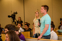 Students were given an opportunity to ask President Kim B. Clark questions during an open forum.