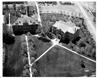 Aerial photo of Ricks College Spori Building and old gym building, the B-2.