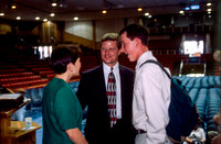 President and Sister Bednar talking with students after devotional