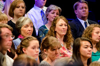 Audience members listening to Pres. Clark share information about new BYU-Idaho students and answers to questions