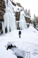 Scott Hurst, Outdoor Resources Supervisor, looks at the ice wall he and students will be climbing that day.