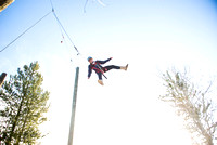 Student, Brittany Tanner, climbs up the Power Pole during iGrow.